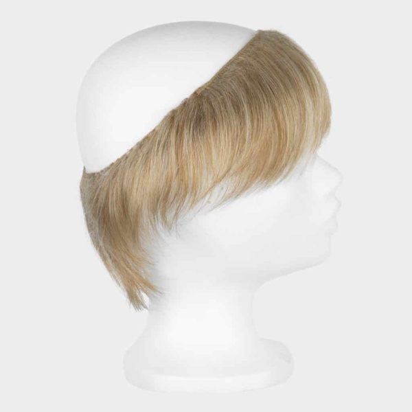 Polyhead with no hair with a face framer in blonde.