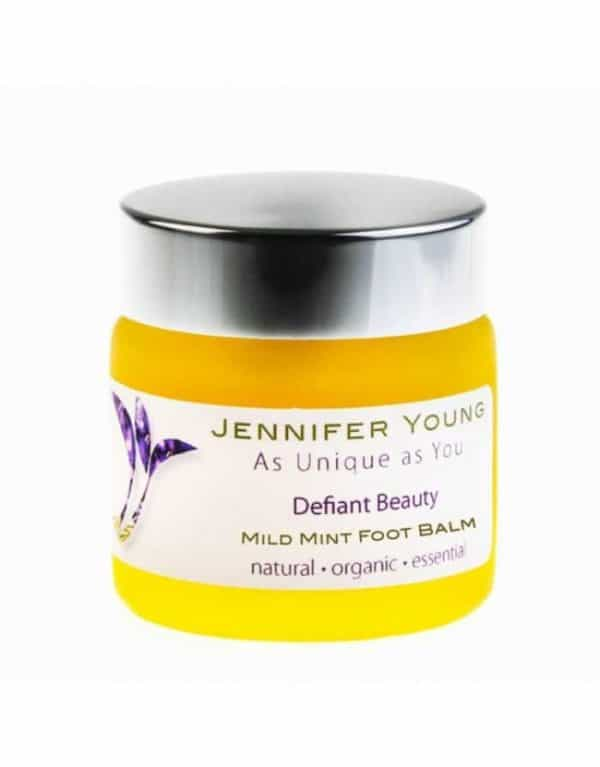 Mild Mint Foot Balm in a glass jar made by Jennifer Young specially for Cancer Patients. Organic, natural, essential.