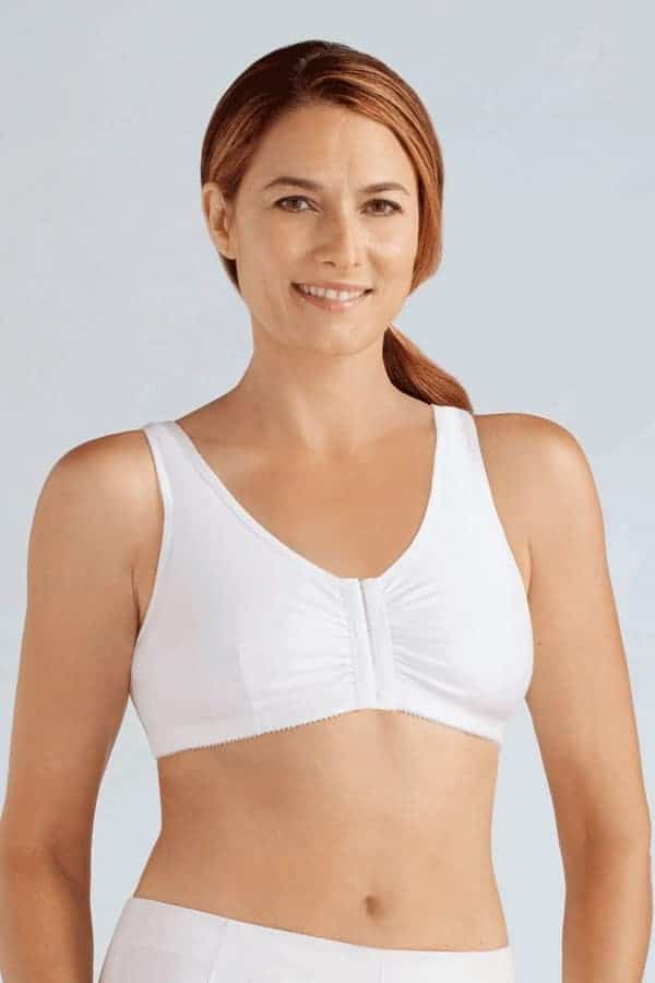 Woman wearing an ultra soft cotton, non-wired, front opening bra mastectomy leisure wear