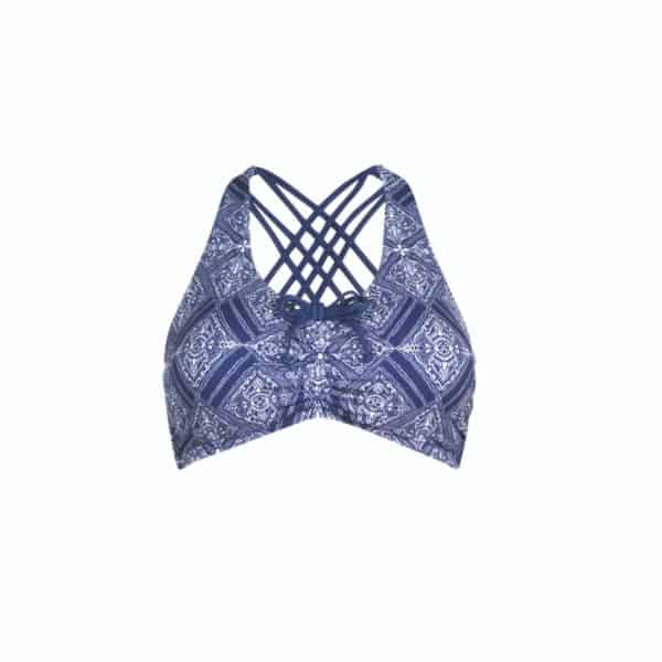 A navy and white mastectomy bikini top cu out.