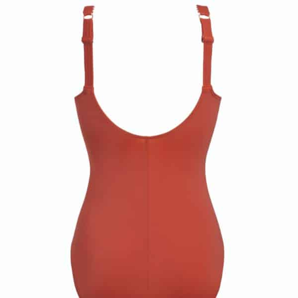 A mastectomy swimsuit for women in dark red, back.