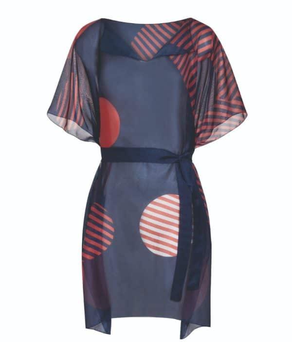 Mastectomy swimwear navy tunic for women.