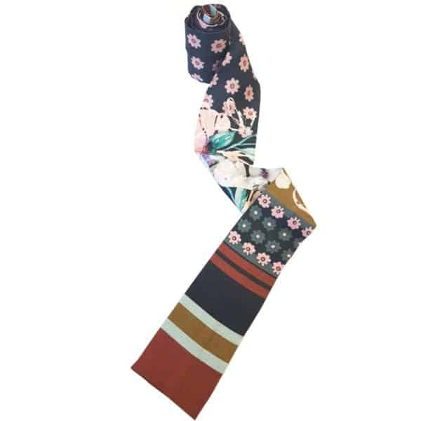 Headscarf for women with hair loss in black with flower print.