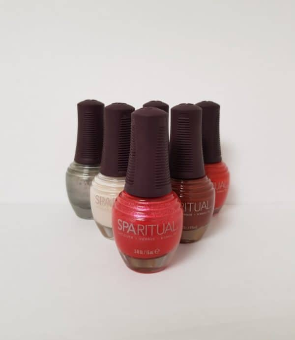 Bottles of chemical free nail varnish in different colours.