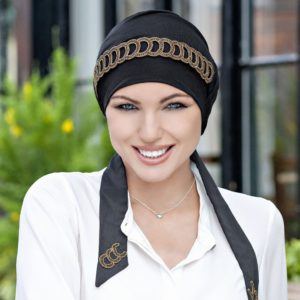 Yanna Black Golden Diadem Turban by Masumi Headwear