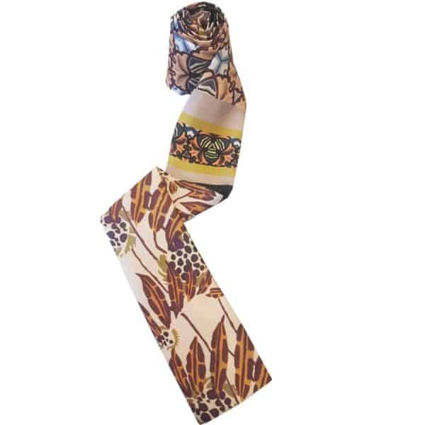 Headscarf for women with hair loss in brown with flower print.