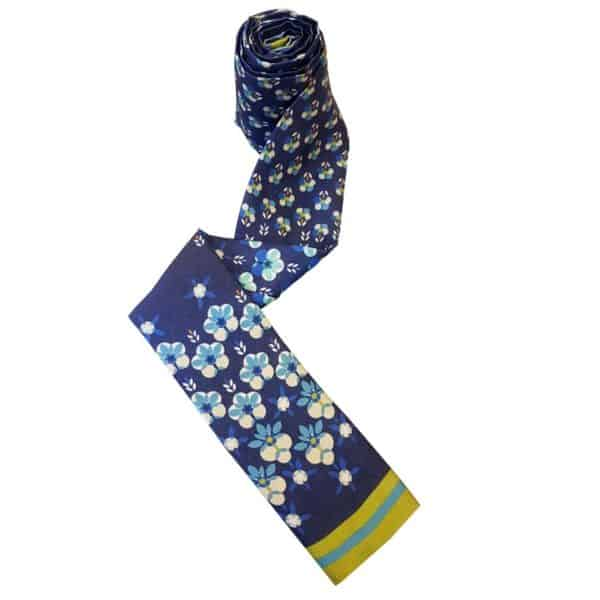 Headscarf for women with hair loss in navy with flower print.