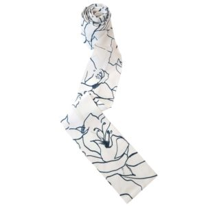 Silk Scarf Navy White Lilium by Masumi Headwear