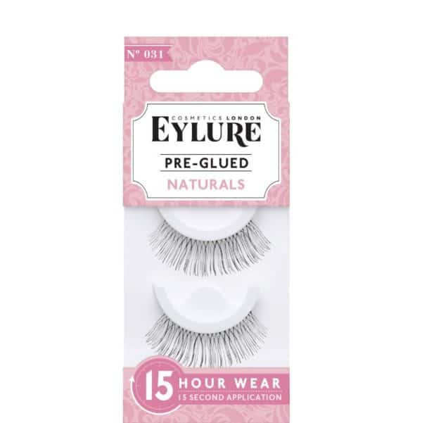 Box with pair of false pre glued eyelashes for women.