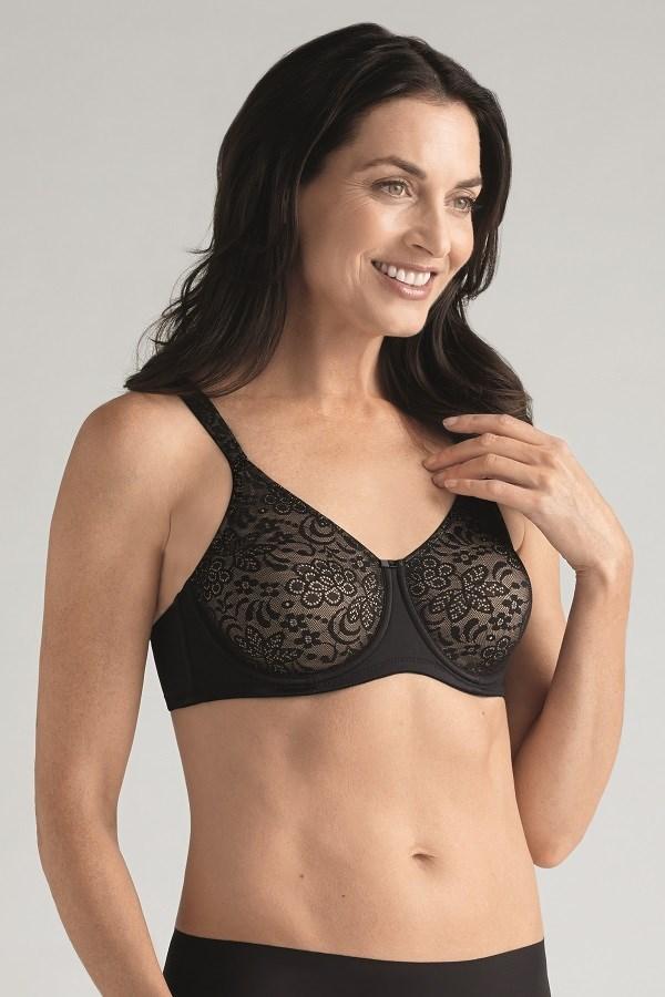 Annette under wired mastectomy bra black nude front
