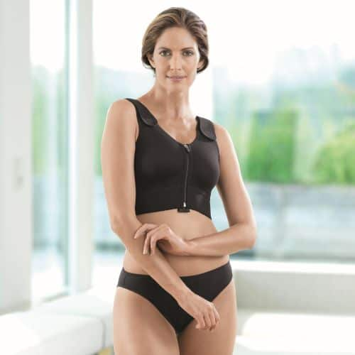 compression bra high support double padded black front