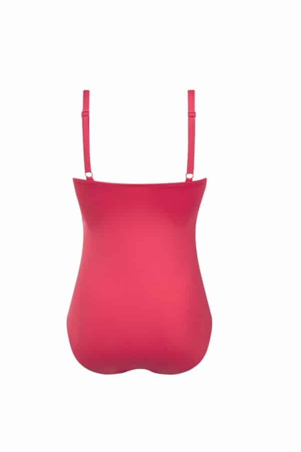 marbella one piece with silver neck detail red back