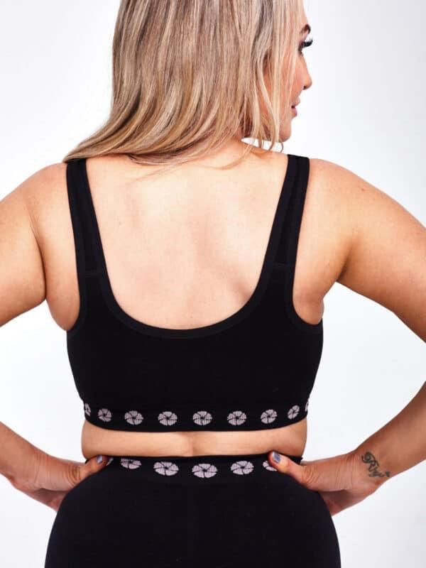 peony mastectomy front opening bra black back