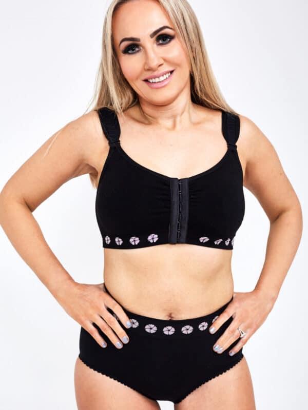 peony mastectomy front opening bra black front